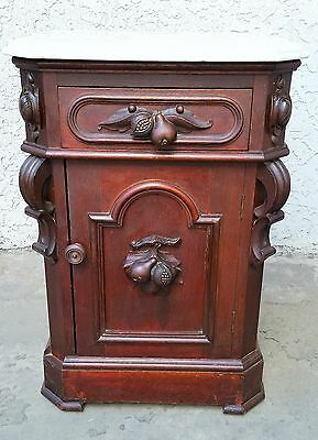 American Renaissance Revival WALNUT HALF COMMODE MARBLE TOP NIGHTSTAND