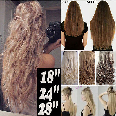 100% Thick 23-26 Inch Full Head Clip In Hair Extensions Brown/Black/Blonde T58