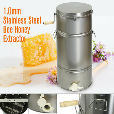 New Two 2 Frame Stainless Steel Bee Honey Extractor SS Honeycomb Drum Beekeeping