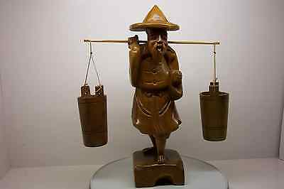 Antique Asian Carved Figured Grain Wood Man With Buckets From Taiwan--Large Size