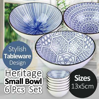 13x5CM Heritage Ceramic Small Bowl 6 Pcs Set 3 Patterns Stylish Tableware Dinner