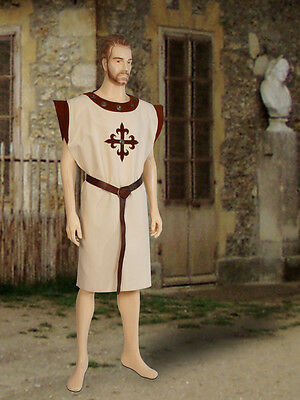 Medieval Renaissance Tunic Cross Cloak Costume Cotton, Handmade