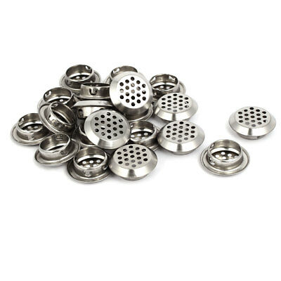 Household Stainless Steel Round Shaped Mesh Hole Air Vents Louver 25mm Dia 20pcs