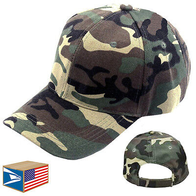 BASEBALL CAP Woodland Army Camo Camouflage HAT ADJUSTABLE CURVED VISOR! #E0419