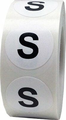 S Clothing Labels Round Circle Stickers For Retail Apparel 3/4 Inch 500 Adhesive