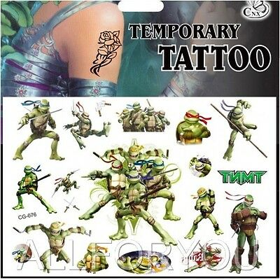 1x Ninja Turtles Temporary Tattoo Sheets Children Kids Birthday Party Bag Filler