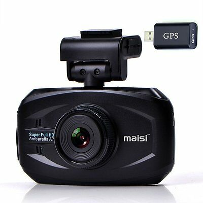 GPS Camera Dash Car Hd Dvr Cam 1296p Video Recorder Sensor Lens Dual Dashcam