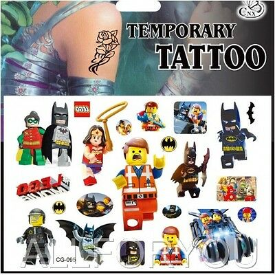 1x Lego Temporary Tattoo Sheet Children Kids Birthday Party Bag Filler