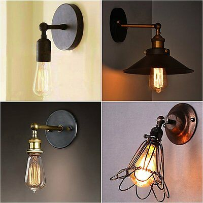Vintage Retro Industrial Rustic Sconce Wall Light Lamp Fitting Fixtures 4 Style