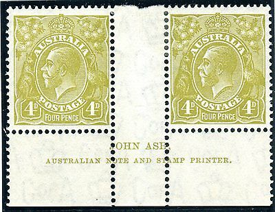 AUSTRALIA-1931-6 4d Yellow Olive lightly mounted mint example INTERPANNE Sg 129