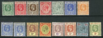 ST LUCIA-1921-30 A mounted mint set to 5/- Sg 91-105
