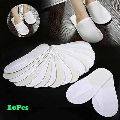 10 Pairs White Towelling Closed Toe Travel Hotel Slippers Spa Shoes Disposable H
