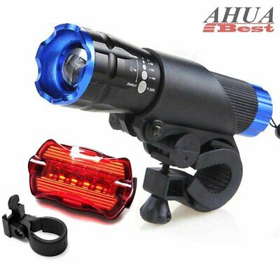 CREE Q5 LED Bike Bicycle Cycle Zoomable Torch Front Lights + Rear Lamp Set