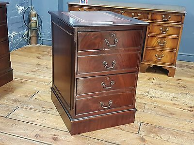 Antique Reproduction Mahogany Two Drawer Red Leather Top Wooden Filing Cabinet