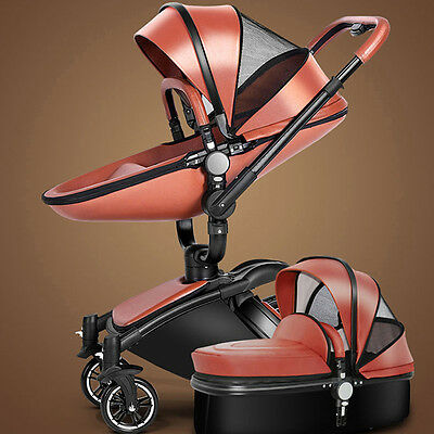 New Baby stroller 2 in 1 leather Carriage Infant Travel Foldable Pram pushchair