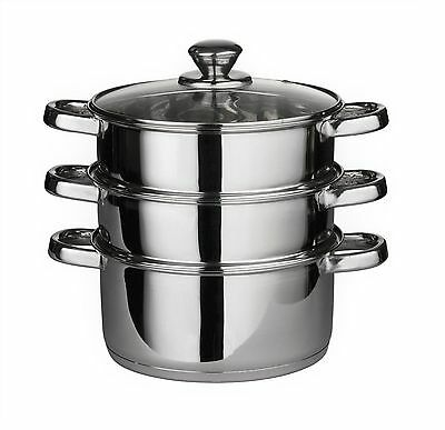 3 Tier Stainless Steel Steamer Set Steam Cooker Pot 4pc Casserole with Glass Lid