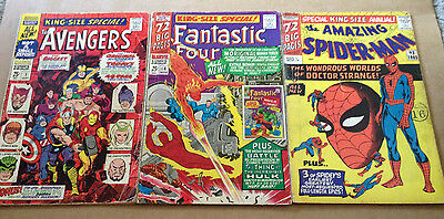 3 x MARVEL 60s SILVER AGE ANNUALS - AMAZING SPIDER-MAN, AVENGERS, FANTASTIC FOUR