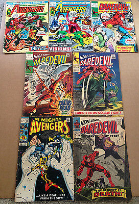 7 x SILVER & BRONZE AGE DAREDEVIL & AVENGERS ISSUES - MARVEL 1966 - 1973