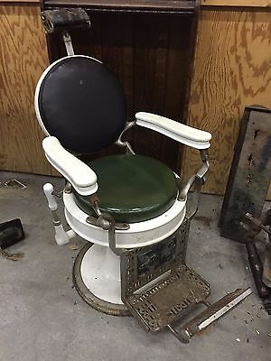 Vintage Antique Koch Barber Chair with Head Rest - round back
