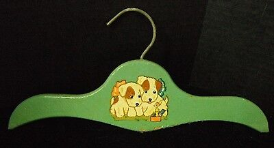 Vintage Child's Clothes Hanger Chippy Bluish Green Paint Puppy  Decal 12""