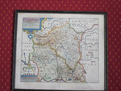 A 17 Th C Coloured Map Of Radnor [ Powys] Wales After C  Saxton, W.kip Engraver