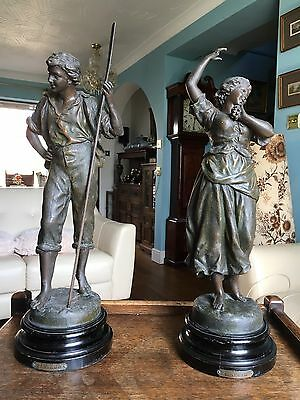 Pair Of Large Victorian Spelter Figures Attributed To Ernest Rancoulet