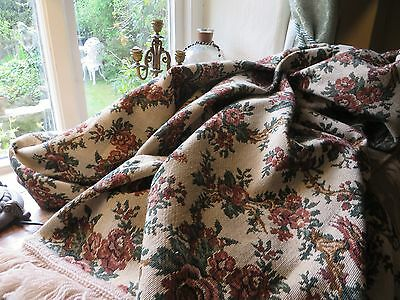 Super Vintage French Tapestry Throw With A Fringe Trim ~ Country Home