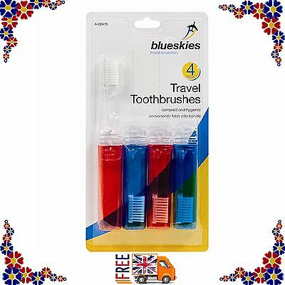 New Pack Of 4 Travel Fold-Up Foldable Toothbrushes Family Camping Holidays