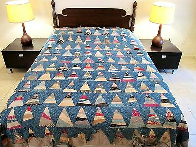 Vintage ANTIQUE Hand Sewn Very Old Cotton WILD GOOSE CHASE 1000 Pyramids QUILT