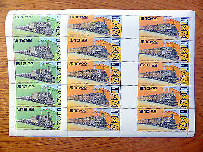 GUYANA Wholesale 1987 Trains $10 & $12 in Sheets of 10 SALE PRICE FP2440