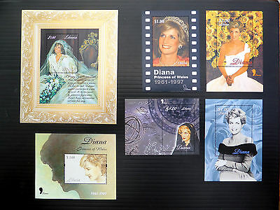 LIBERIA Wholesale Diana Princess of Wales 9 Different M/Sheets 10 of Each FP3698