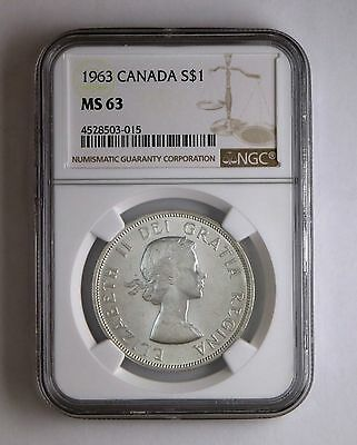 1963 S$1 Canada Silver Dollar NGC MS 63 Business Strike