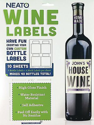 Neato Blank Wine Bottle Labels - 40 Pack - Vinyl, Water Resistant, For Ink Jet