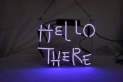 'HELLO THERE' Home Wall Art Decor Vintage Neon Light Sign Real Glass Beer Pub