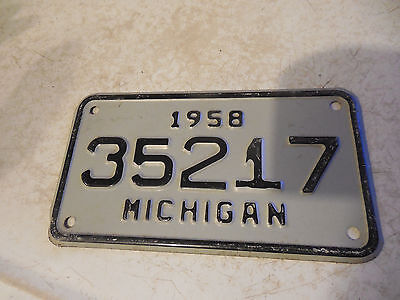 Old Michigan Motorcycle License Plate 1958 Vintage Bike Harley Davidson Indian