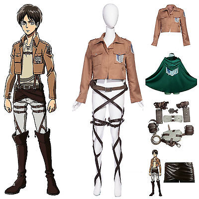 Deluxe Attack on Titan Costume Set Jacket Cape Belt Shingeki No Kyojin Cosplay