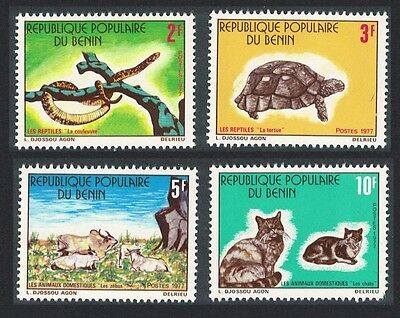 Benin Snake Turtle Cat Reptiles and Domestic Animals 4v Defective 1 SG#650/53