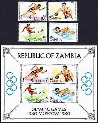 Zambia Olympic Games Moscow 4v+MS SG#311/MS315 SC#216-219a