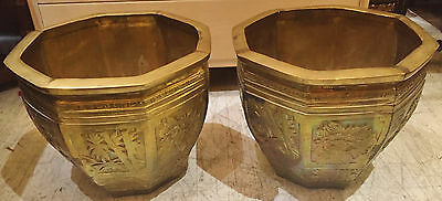 PAIR Large Oriental Chinese Decorated  BRONZE PLANTERS Garden Vases URNS