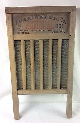 Vtg National Washboard Co No 801 Brass King Soap Saver Wood & Brass Nice Patina