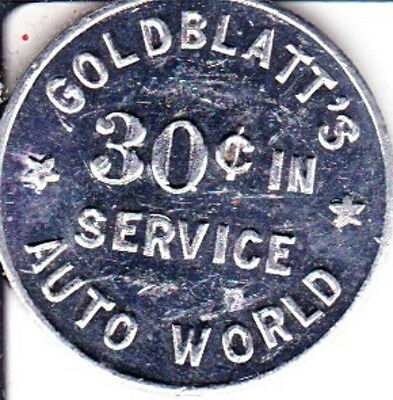 30c Goldblatt's Auto World  Car Wash Token  Chicago & Suburbs