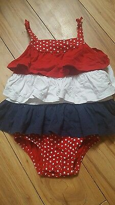 Oshkosh girls size 6 months red white and blue american romper