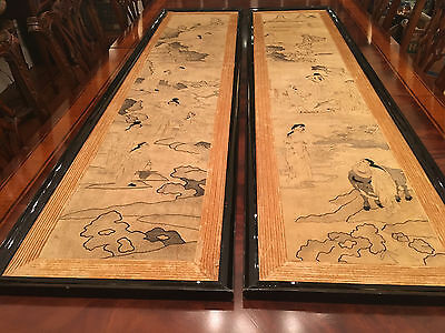 A Pair Rare and Large Framed Chinese Qing Dynasty Kesi Panels.