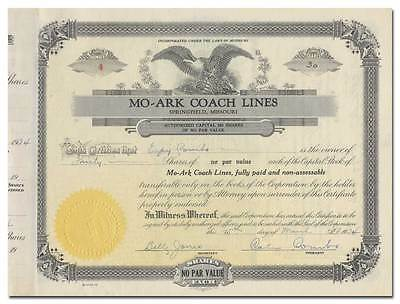 MO-ARK Coach Lines Stock Certificate (Trailways)