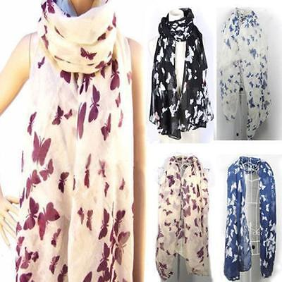 Womens Ladies Butterfly Print Large Soft chiffon Long Scarf stole neck wrap 6a