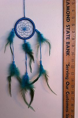 """SALE! ~ Cherokee 16"""" Dream Catcher, Turquoise, Blue & Green , Feathers, Beads"""