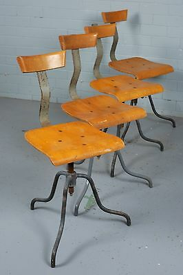 European Industrial Work Factory wooden and bent ply Chair