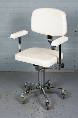Vintage White Vinyl Salon/ Beautician's/ Office chair