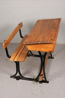 Antique, vintage Oak School Desk and attached Bench