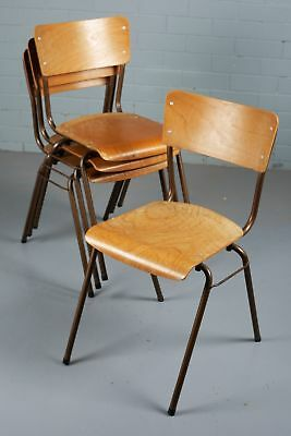 Set of Four Vintage Plywood and Tubular Steel Stacking Chairs